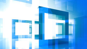 Abstract background with blue square frames. Abstract technology background with blue square frames Stock Photo