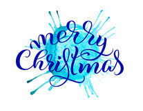 Abstract background blue tone and the text of Merry Christmas. Lettering calligraphy Stock Image
