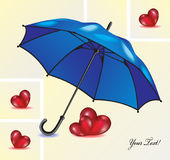 Abstract background with blue umbrella and red hearts. Royalty Free Stock Images