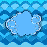 Abstract background with blue waves and a banner. Vector illustration stock illustration