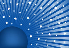 Abstract Background Blue with White Stars. Blue sunburst background with various white stars giving a celebration feel to the design. Small space to add copy Royalty Free Stock Image