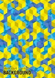 Abstract background. Blue and yellow isometric cubes with patter. Ns. Vector hexagon structure. Futuristic science illustration. Size A4 Stock Photo