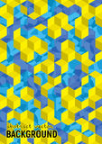 Abstract background. Blue and yellow isometric cubes with patterns. Vector hexagon structure. Futuristic science illustration. Size A4 vector illustration
