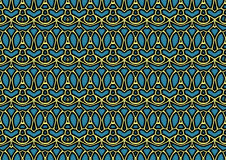 Abstract background in blue and yellow tones. Abstract backdrop with ornament from repeated patterns in blue and yellow tones, colorful background for poster stock illustration