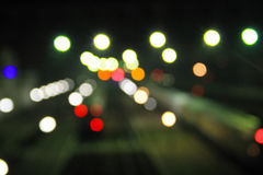 Abstract background of blurred city lights with bokeh effect Royalty Free Stock Photography