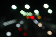 Abstract background of blurred city lights with bokeh effect Royalty Free Stock Photos