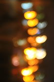 Abstract background of blurred city lights with hearts shape bokeh effect Stock Photo