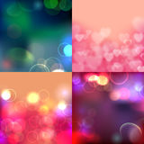 Abstract background with blurred defocused lights. Set Stock Images