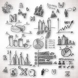 Abstract background with blurred doodles and sketches. On the theme of business royalty free illustration