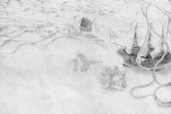 Abstract background of boat in the bottle. Pencil sketch painting style. Black and white. Abstract background of boat in the bottle. Pencil sketch painting royalty free stock photos