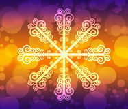 Abstract background with bokeh. Bright background with snowflake Stock Photos