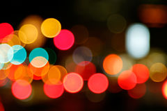 Abstract background of bokeh city lights. Out of focus light painting stock photo