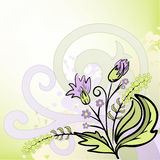 Abstract background with a bouquet. Abstract lilac and green background with hand-drawn bouquet of wildflowers Royalty Free Stock Photography