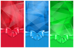 Abstract background with bow. Set of 3 abstract background with bow and ribbon Royalty Free Stock Photo