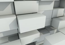 Abstract background of box float. 3d rendering Royalty Free Stock Photo