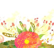 Abstract background with branch of floral. Watercolor butterflies background with butterflies for design stock illustration
