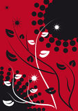 Abstract background with branches and leaves. Abstract background black-red scheme with floral motifs Stock Photos