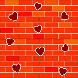 Abstract background with brick wall and hearts. Seamless. Vector illustration Stock Photography