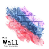 Abstract background. Brick wall painted with spots of different colors, vector illustration Stock Photo