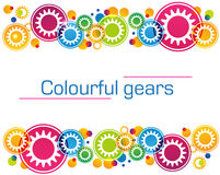 Abstract background of bright colored gears and. Circles for website design, banner or greeting card Stock Illustration