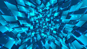 Abstract background of bright glowing particles and paths. Illustration Stock Photo
