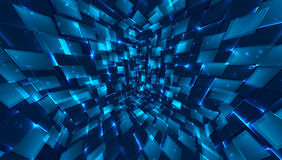 Abstract background of bright glowing particles and paths. Vector illustration Stock Photography