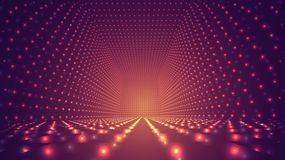 Abstract background, bright infinite tunnel. Of glowing segments stock illustration