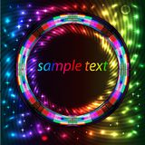 Abstract background with bright neon circle for text Stock Photography