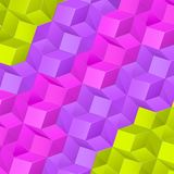 Abstract background with bright volume cubes. Vector bright abstract background with volume connected green,violet and pink cubes Royalty Free Stock Image