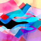 Abstract background of bright wavy design. Abstract background of bright multicolored wavy design with different elements stock illustration