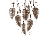 Abstract background with brown feathers. Vector EPS 10 Stock Images