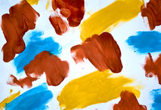abstract background brush strokes yellow, brown, blue ink white paper Royalty Free Stock Photos