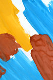 Abstract background brush strokes yellow, brown, blue ink white paper Stock Photo