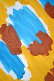 abstract background brush strokes yellow, brown, blue ink white paper Royalty Free Stock Photo