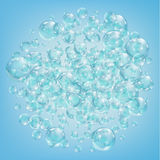 Abstract background with bubbles of the water. Bubbles with reflex and reflection, realistic vector effect. The flow of air bubbles in the water Stock Image