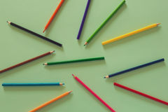 Abstract background with bunch of color pencils. View from above Stock Photography