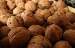 Abstract background with a bunch of walnuts and a blurred background around the edges stock images