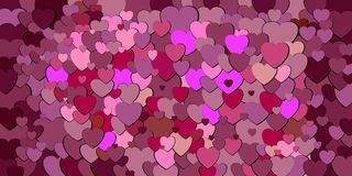Abstract background with burgundy hearts. Illustration, Various shades of burgundy hearts background Stock Illustration