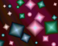 Abstract background. Abstract burgundy background with multi-colored geometric shapes royalty free illustration