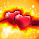Card with burning hearts. Abstract orange background with two burning hearts Royalty Free Stock Image