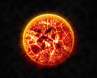 Abstract background of burning planet or sun. Apocalypse. Exploding planet.  Royalty Free Stock Image