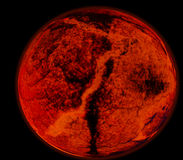 Abstract background of burning planet or sun. Apocalypse. Exploding planet Royalty Free Stock Photos