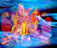 Abstract background with burning rock and water waves. Fire fighting water. Blue, red,  and orange background with flames and liquid Stock Photos
