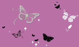 Abstract background with butterflies. Butterflies pattern on pink bg Royalty Free Stock Image