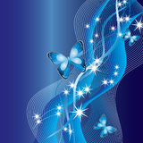 Abstract background with butterflies. Abstract blue background with butterflies, ribbons and stars vector illustration