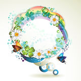 Abstract background with butterflies. Flowers, rainbow and drops of water stock illustration