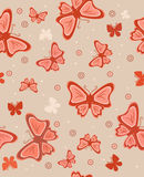 Abstract background with butterflies. In orange colour Stock Photo
