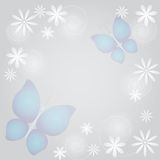 Abstract background with butterflies and flowers. In pastels stock illustration