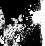 Abstract background with butterflies and ink blots. Vector vector illustration