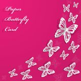 Abstract background with butterflies. With place for text on pink background stock illustration